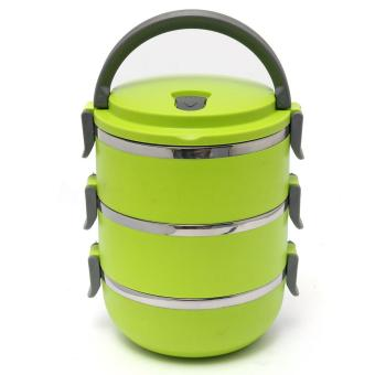 J&J 3 Layers Stainless Steel Lunch Box Thermal Insulated Handlewith FREE Nicer Dicer Plus Speedy Chopper - 4