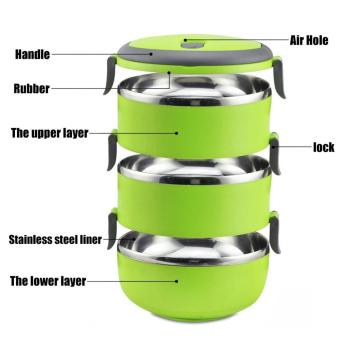 J&J 3 Layers Stainless Steel Lunch Box Thermal Insulated Handlewith FREE Nicer Dicer Plus Speedy Chopper - 5