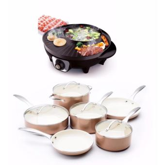 J&J Korean Style 2 in 1 Multifunctional 1600W Electric BBQRaclette Hotpot With Grill Pan WITH Piece Non-Stick CeramicCookware Set (Gold)