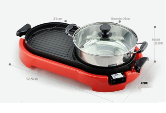 J&J Multi-function Electric Hotplate Grill (Red) - 4