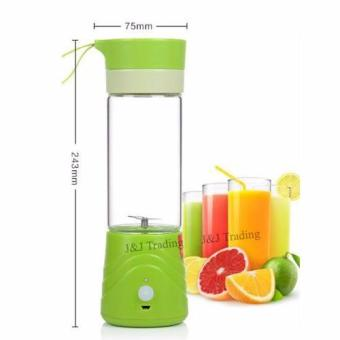 J&J Rechargeable USB Electric Fruit and Vegetable Blender CupJuicer Extractor 380mL (Green) - 4