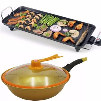 JNS-DKP1- (S) Electric Baking Grill Tray Economical And High-Efficiency With Korean Golden Vacuum Skillet 32 cm Wok non-stick Ceramic Fry Pan with loop handle 698 (Golden Yellow)