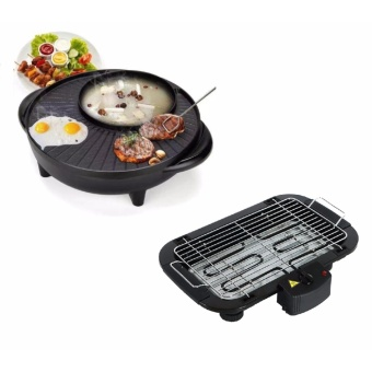 Korean Style 2 in 1 Multifunctional Electric BBQ Raclette HotpotGrill Pan with Electric Barbecue Grill Outdoor BBQ 006