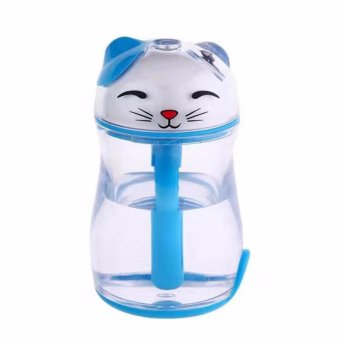 Lucky Cat Shape Mini Air Humidifier Desktop USB Oil Essential Aroma Diffuser Mist Maker Fogger with Multi Colors Night Light (Blue)