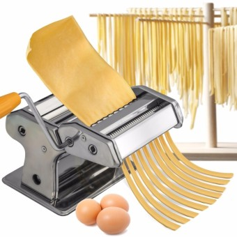 Manual Pasta Maker Machine - Stainless Steel Roller for FreshSpaghetti Fettuccine Noodle Hand Crank Cutter (SILVER STAINLESS)