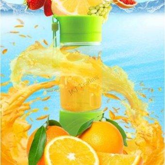 Multi-function 380ML Mini Juice Extractor Portable Electric Fruit Juicer Vegetable Citrus Blender Ice Crusher + Power Bank Outdoor Travel (Green) - 3