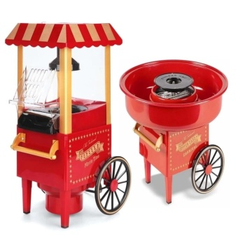Old Fashioned Popcorn Movie Time Maker (Red) with Carnival CottonCandy Maker
