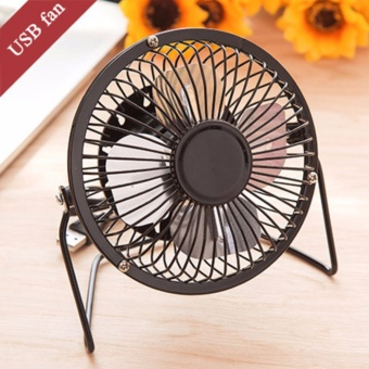 Portable DC 5V Small Desk USB 4 Blades Cooler Cooling Fan USB Mini Fans Operation Super Mute Silent PC Laptop Notebook-Black - intl