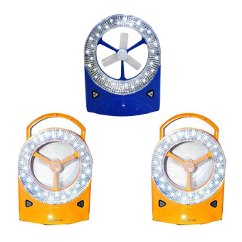 Rechargeable LED Light with Fan, Set of 3 (Yellow/Blue)
