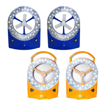 Rechargeable LED Light with Fan, Set of 4 (Blue/Yellow)