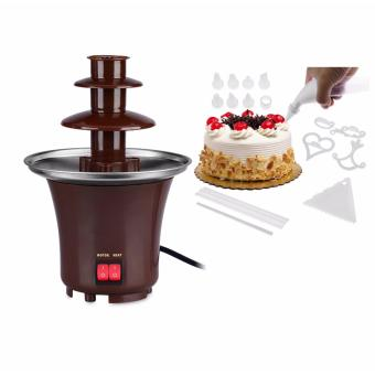 Rukia Mini Chocolate Fountain (Brown) with 100 Piece Cake Decorating Kit