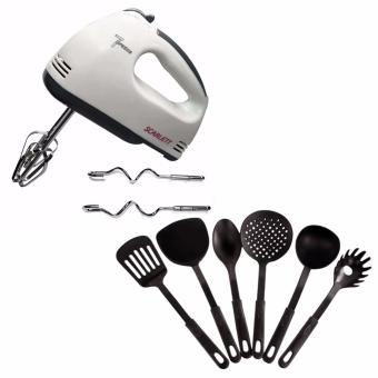 Scarlett Professional Electric Whisks Hand Mixer (White) With freeHeat Resistance Plastic Ladle 6-piece set (Black)