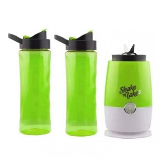 Shake N Take 3 Tumbler and Blender 16oz (Green) Free Outdoor SolarPower 2 in 1 Rechargeable Camping Lantern (Gold) - 2