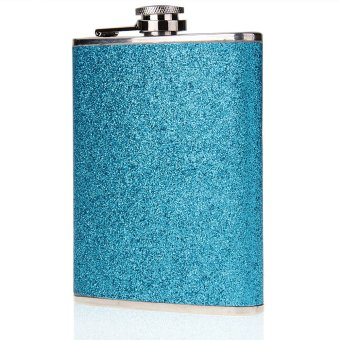 Stainless Steel Alcohol Drink Liquor Whisky Hip Flask 8oz Blue - picture 2