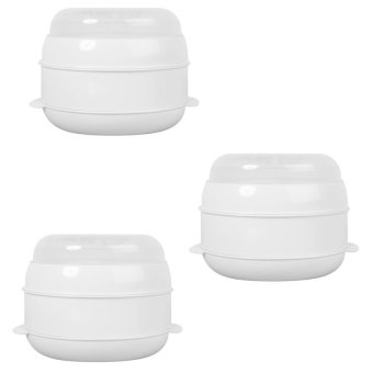 Two-Tier Microwave Steamer (White) Set of 3
