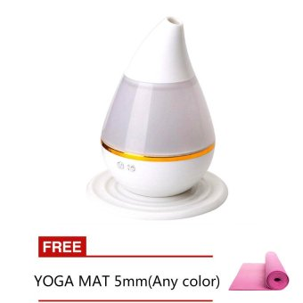 Ultrasound Atomization Humidifier Colorful Gradient Light (White) with Free Yoga Mat 5mm (Any color)