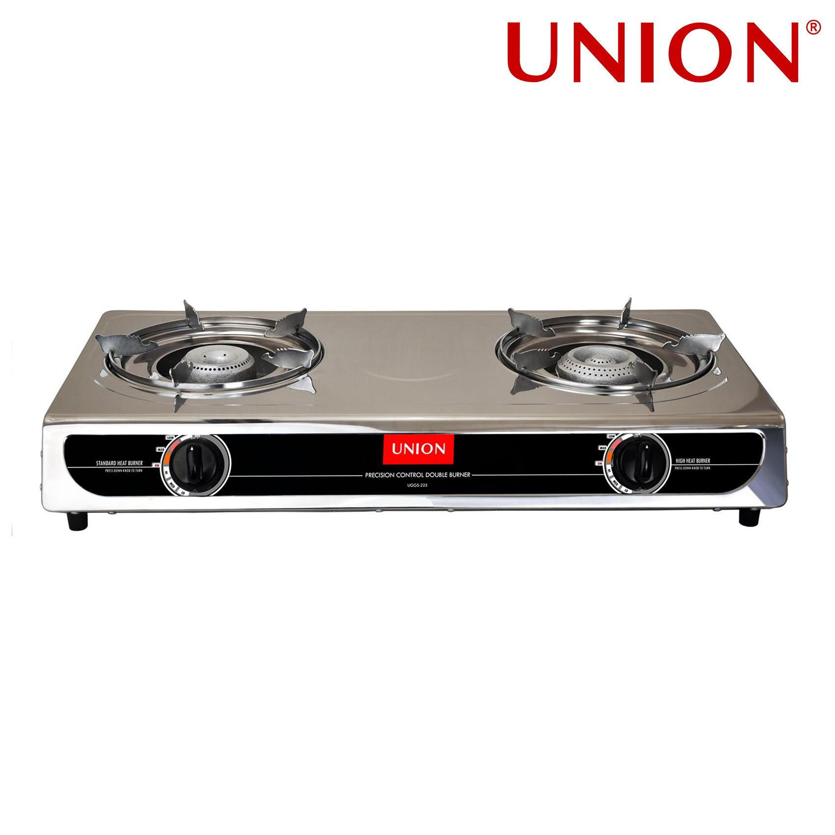 Union UGGS-225 Double Burner Precision Heating Gas Stove (Silver/Black) Philippines