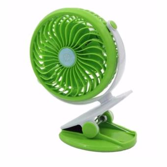 USB Mini Clip & Table Fan Rechargeable Desktop Portable Electric Fan (Green)