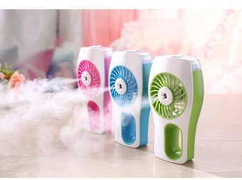USB Mini humidifier handheld portable cooling air conditioningrechargeable mini spray air conditioner fan (Blue) - 5