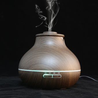Wooden LED Ultrasonic Aroma Humidifier Essential Oil Diffuser US110V(Dark Wood) - intl