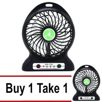 ZDL-F68 Portable Lithium Battery Rechargeable Fan (Black) Buy 1Take 1