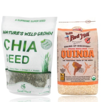 Bob's Red Mill Organic Whole Grain Quinoa 453 g & Nature's WildChia Seeds 1 lb bundle with free Silicone Digital Watch ( color mayvary)