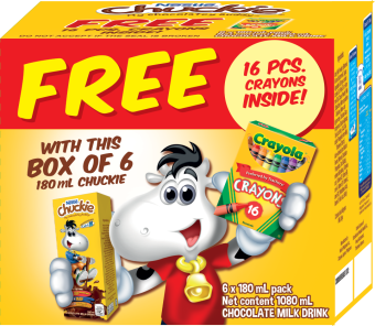 Harga CHUCKIE Chocolate Milk Drink 180ml (Box of 6) with FREE 16-Piece Crayola Set