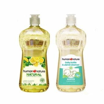 Harga Human Nature Natural Dishwashing Liquid 500ml and Natural Baby Bottle and Utensil Cleanser 500ml (2 bottles)