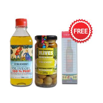 La Rambla Pure Olive Oil 500 ML + La Rambla Green Whole Olives 235g + FREE NOTEPAD Price Philippines