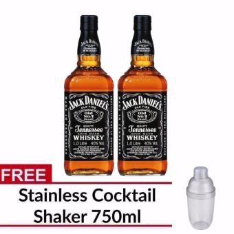 Jack Daniel's Old No. 7 Tennessee Whiskey 1 Litre (Set of 2) withFREE Cocktail Shaker 750ml