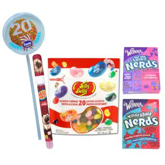 Jelly Belly 20 Assorted Flavors Jelly Beans 100g + 2 Wonka Nerds46.7g + The Secret Life of Pets Mega Mouth Spray Candy with FREECandy Corner 20 Lollipop