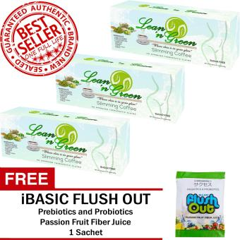 Lean n Green Slimming Coffee (3 Boxes) with FREE Flush Out Colon Cleanse 1 Sachet