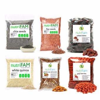 Set of 6 - Nutrifam US Chia Seeds, Flax Seeds, White Quinoa, WholeRaw Almonds, Pitted Dates, Goji Berries (500g / pack)
