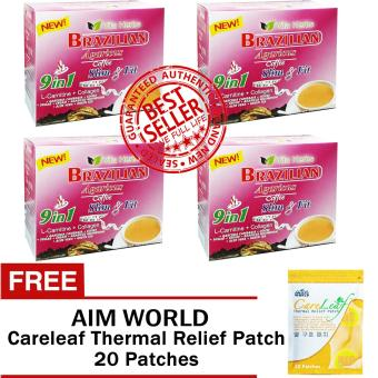 Vita Herbs 9 in 1 Brazilian Agaricus Coffee Slim and Fit 4 Boxes with FREE Aim Global Careleaf Thermal Relief Patch