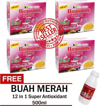 Vita Herbs 9 in 1 Brazilian Agaricus Coffee Slim and Fit 4 Boxes with FREE12 IN 1 SUPER ANTIOXIDANT BUAH MERAH
