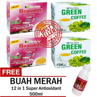 Vita Herbs Brazilian Coffee (2 Boxes) and Vita Herbs Green Coffee (2 Boxes) FREE Super Antioxidant 12 in 1 Buah Merah