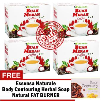 Vita Herbs Buah Merah 9 in 1 Coffee (4 Boxes) with FREE Body Countouring Soap