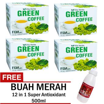 Vita Herbs Green Coffee 4 Boxes (10 Sachets Per Box) with FREE Super Antioxidant 12 in 1 Buah Merah