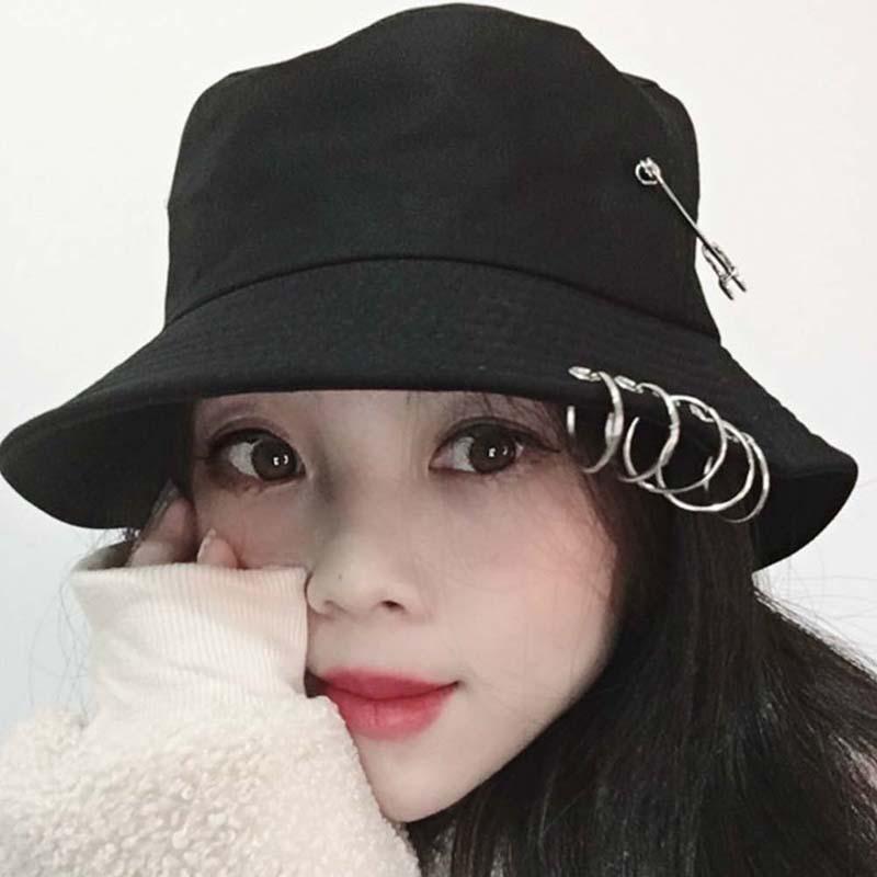 64123893d M&HUnisex Women Men Bucket Hat Pin Rings Sunhat Caps Summer Hats Fashion