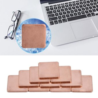 10 pcs 20 * 20mm Copper Sheet Shim Piece Heat Sink Thermal Pad ForGPU CPU Laptop 1.5mm - intl - 4