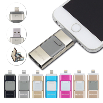 16GB i-Easy Drive Smart phone U Disk/3 in 1 Otg Usb Flash Drive ForiPhone 5/6s/6 plus/7/7 plus iPad PC+Mobile phone bracket + usbflash cable_gold - intl - 3