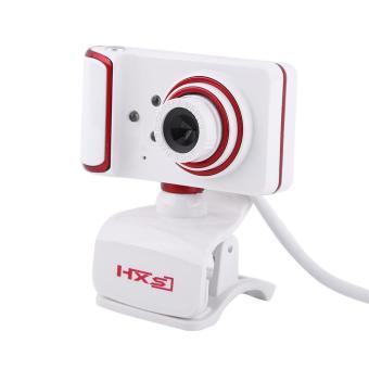 16M Pixel HD Clip-on 3 LED Rotatable Webcam For PC Computer White + Red - intl - 3