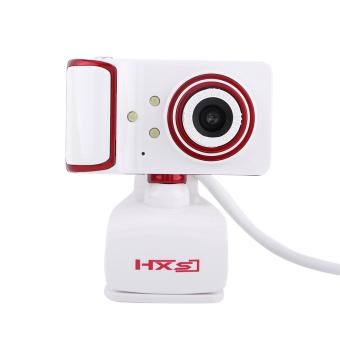 16M Pixel HD Clip-on 3 LED Rotatable Webcam For PC Computer White + Red - intl - 2
