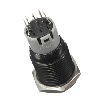 16mm 12V Black Aluminum Metal Led Push Button Car Auto Illuminated ON/Off Switch Red - 3