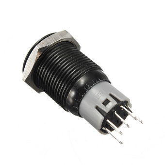 16mm 12V Black Aluminum Metal Led Push Button Car Auto Illuminated ON/Off Switch Red - 2