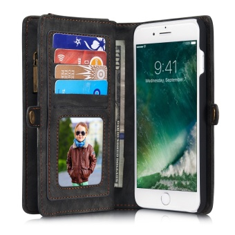 2 in 1 Multi-functional Flip Genuine Leather Wallet Mobile Phone Case with Card Slots for Apple iPhone 7 Plus - intl - 5