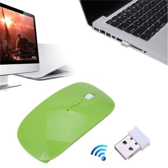 2016 High Quality 2.4G USB Receiver Ultra Slim DIPRechargeableOptical Cordless Wireless Mouse Laptop Wireless Mouse(Green) - intl - 2