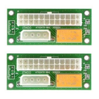 2pcs ATX 24Pin to SATA Molex 4Pin Dual PSU Power Card - intl