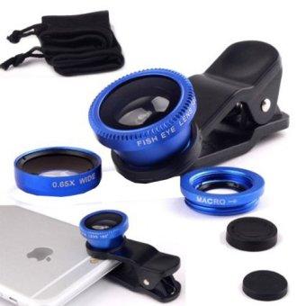 3-in-1 Universal Clip Lens Fish Eye Macro Wide Angel Lens (Blue)