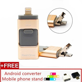 3 in 1 USB Flash Drive 128gb memory Usb Metal Pen Drive For iPhoneApple Android and windows PC Computer - intl